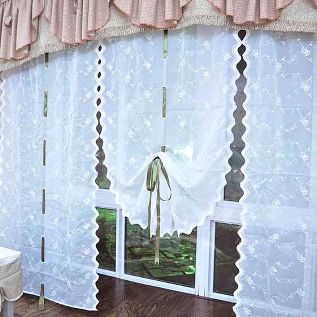 fabric for kitchen curtains design images rose embroidery sheer pull-up curtain