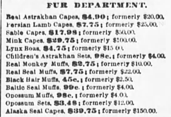 1890 Jan 19 - The Sun NY - Fur Department Prices