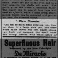 Clam Chowder Recipe - 1905 Oct 15 - The Cincinnati Enquirer