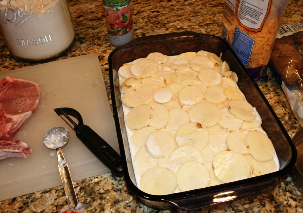 Mrs Houks Scalloped Potatoes and Pork Chop