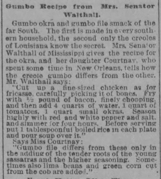 Mrs. Walthall's Gumbo Recipe