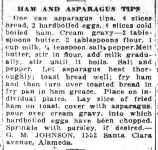 Miss Johnson's Ham And Asparagus Tips Recipe