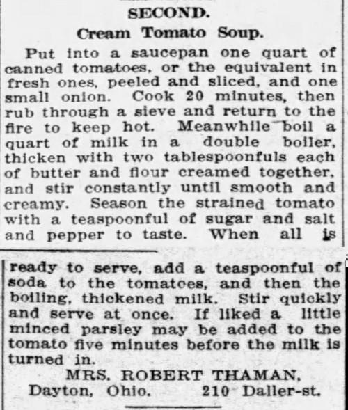 Mrs. Thaman's Creamy Tomato Soup Recipe
