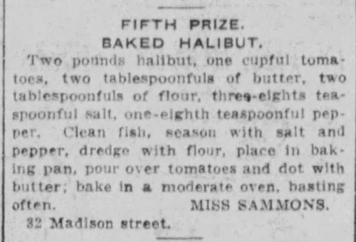 Miss Sammons' Baked Halibut Recipe