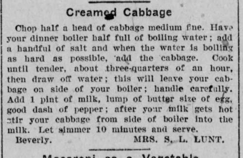 Mrs. Lunt's Creamed Cabbage Recipe