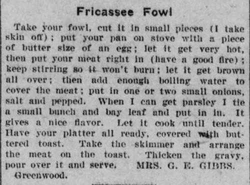 Mrs. Gibbs Fricassee Fowl Recipe