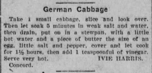 Ms. Harris' German Cabbage Recipe