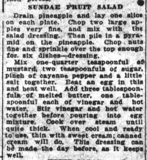 Mrs. Adams' Sundae Fruit Salad Recipe