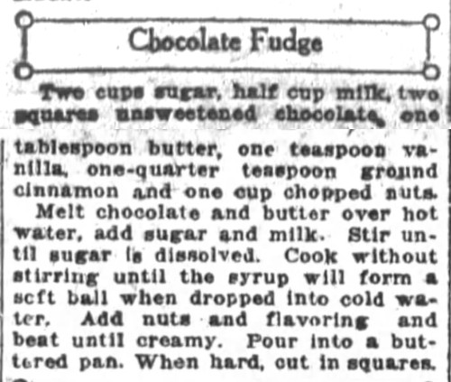Mrs. De Graf's Chocolate Fudge Recipe