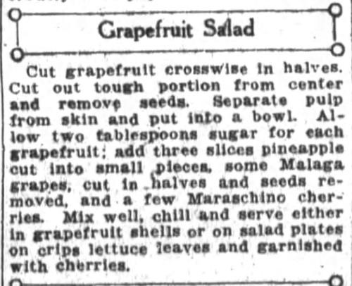 Mrs. De Graf's Grapefruit Salad Recipe
