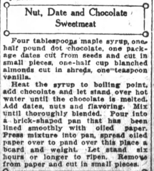 Mrs. De Graf's Nut Date and Chocolate Sweetmeat Recipe