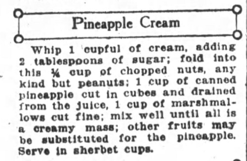 Mrs. De Graf's Pineapple Cream