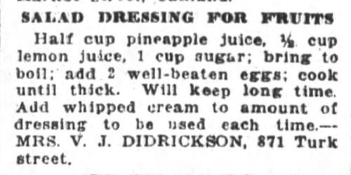 Mrs. Didrickson's Salad Dressing for Fruits Recipe