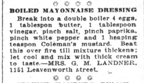 Mrs. Landner's Boiled Mayonnaise