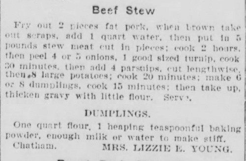 Mrs. Young's Old Fashioned Beef Stew Recipe