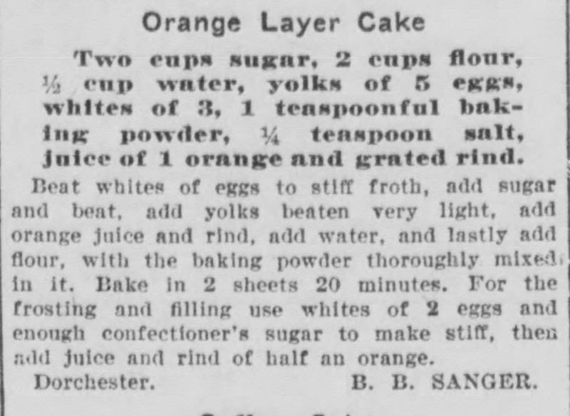Ms. Sanger's Orange Layer Cake