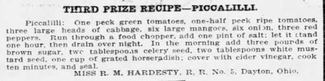 Miss Hardesty's Piccalilli Recipe