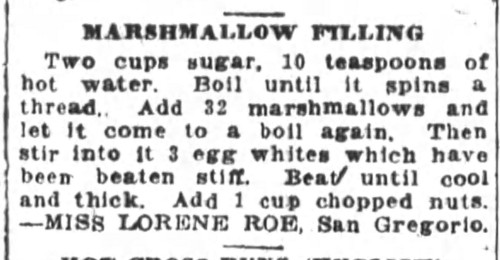 Miss Roe's Marshmallow Filling Recipe
