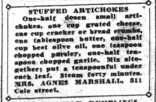 Mrs. Marshall's Stuffed Artichokes Recipe