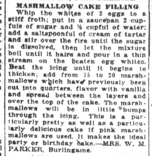 Mrs. Parker's Marshmallow Cake Filling Recipe