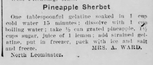 Mrs. Ward's Pineapple Sherbet Recipe