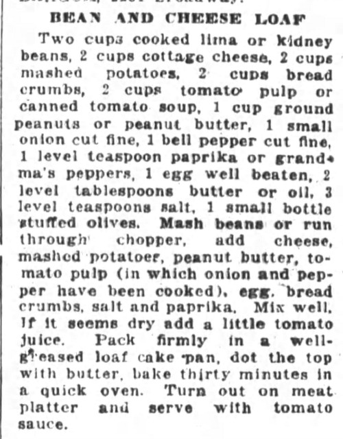 Mrs. Woolner's Bean and Cheese Loaf Recipe