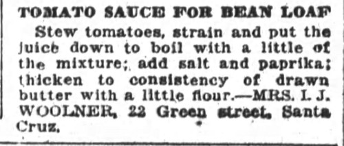 Mrs. Woolner's Tomato Sauce for Bean Loaf Recipe