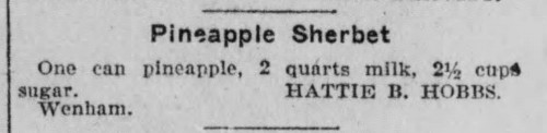 Ms. Hobbs' Pineapple Sherbet Recipe