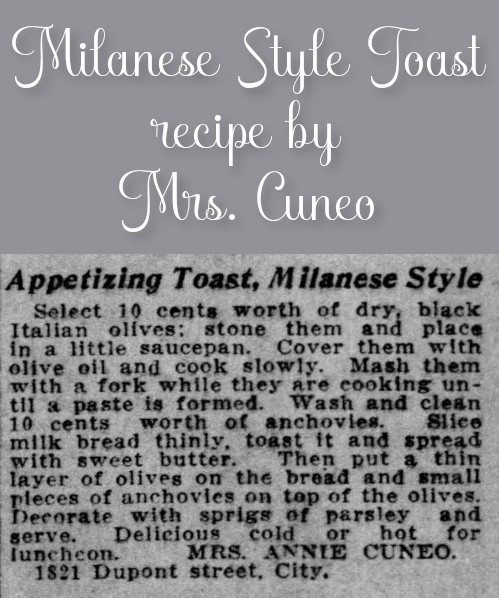 Milanese Style Toast by Mrs. Cuneo
