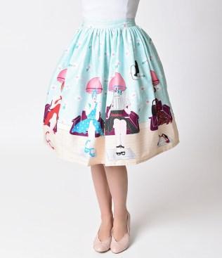 unique_vintage_1950s_pastel_beauty_salon_high_waist_circle_swing_skirt_5