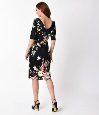 vintage_style_black_seville_floral_half_sleeve_hepburn_wiggle_dress_4