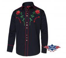 MIDLAND Westernhemd mit edler Stickerei, Brusttaschen, Paspelierung, dekorativen Westernmanschetten und Druckknöpfen.