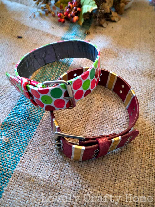 duck tape wrapped belts as dog collars