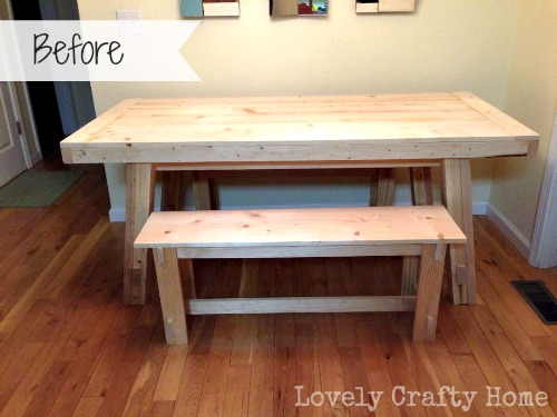 before - raw pine table