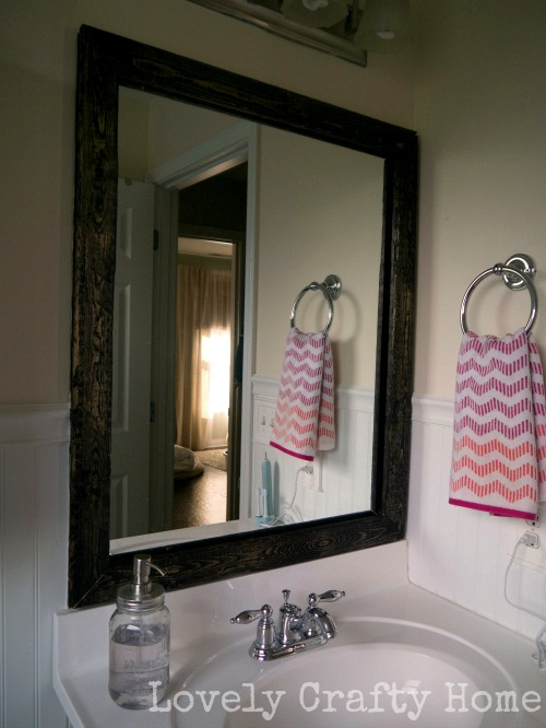 spanish oak stained mirror frame