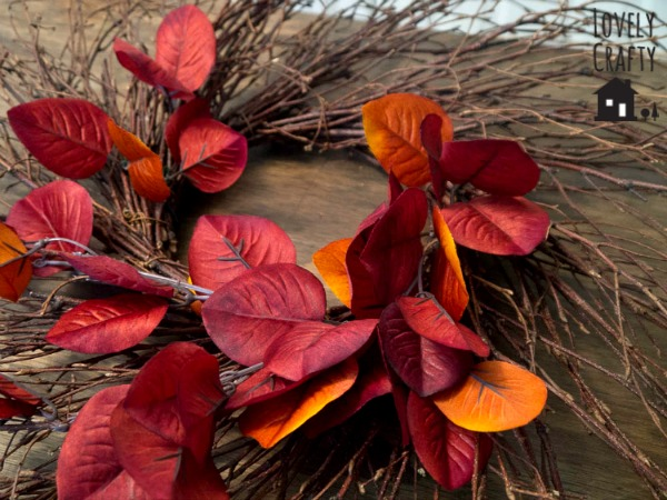Faux Leaf Twiggy Wreath