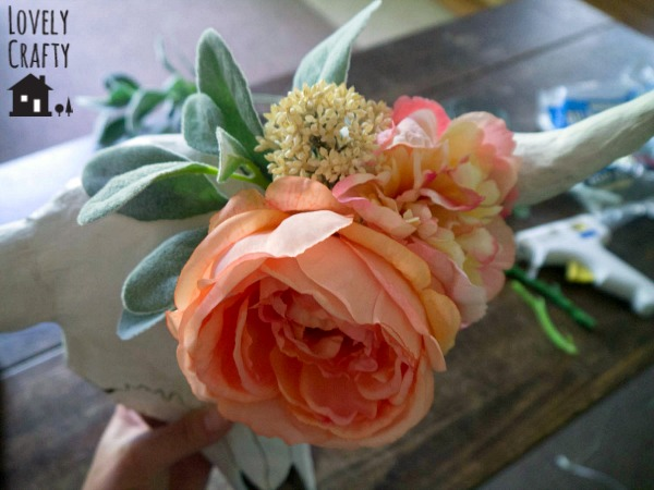 adding flowers to faux taxidermy