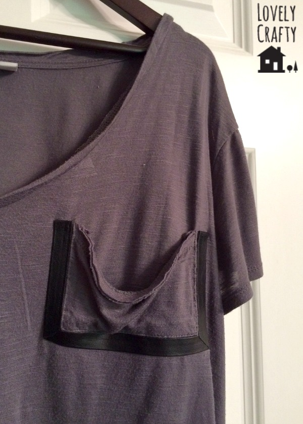 DIY tshirt with leather trim