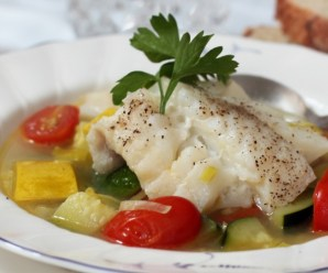 Cod Fish In Vegetable Broth