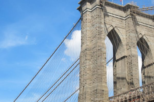 Granite tower of Brooklyn Bridge