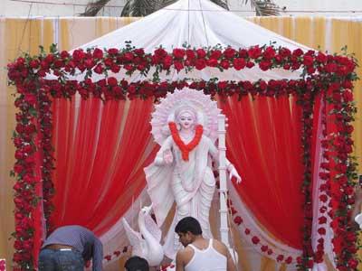 Saraswati Puja Pandal Decoration Idea Best Handmade ...