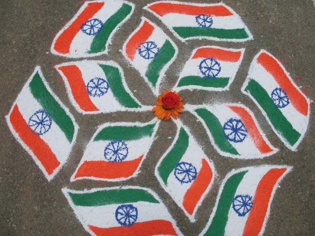 India-Flag-Rangoli designs for 15th aug