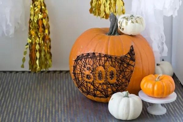 DIY String  Nail Art Pumpkin  Lovely Indeed
