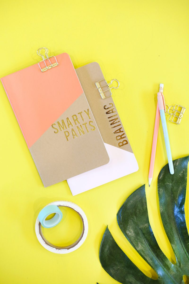 diy gold foil notebooks