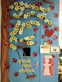 Classroom Door Decoration With Flowers And Ladybug ...