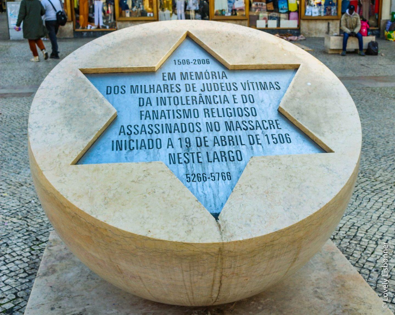 lisboa judaica massacre de 1506 judeus estrela de david monumento largo da igreja de são domingos