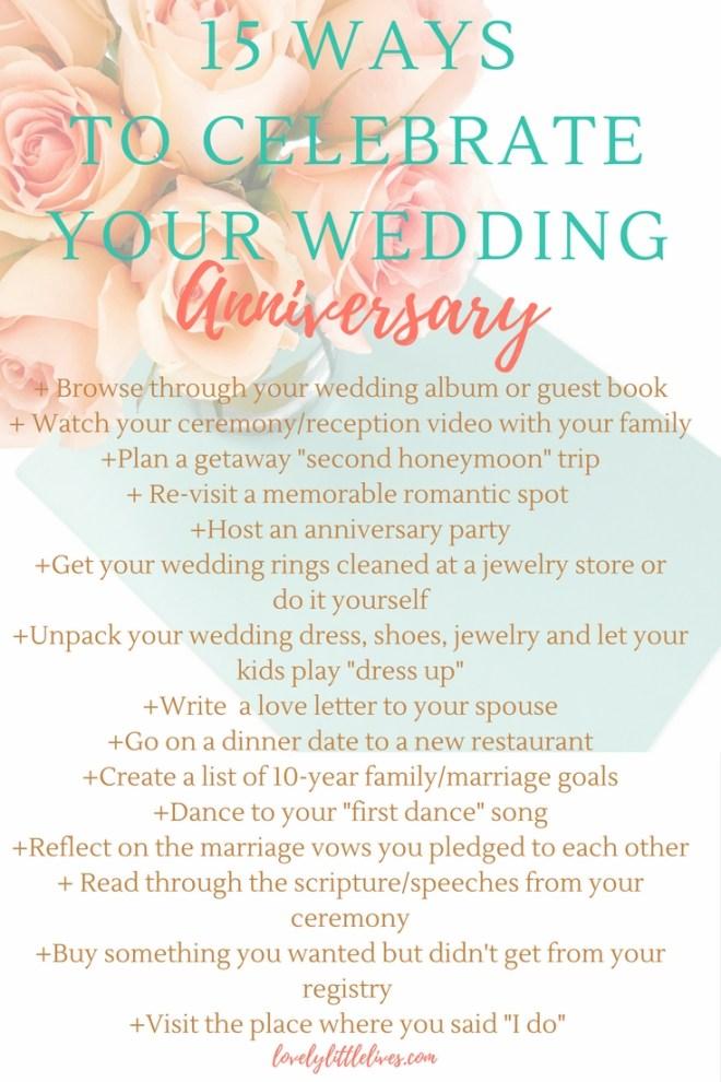 15 Ways to Celebrate your Wedding Anniversay