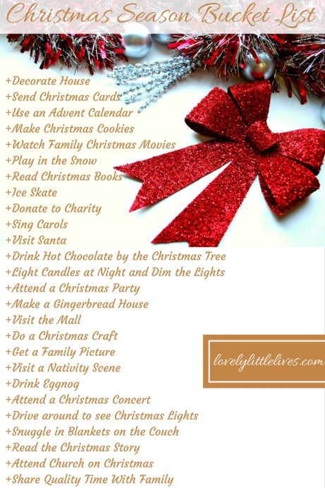 christmas season bucket list to help you savor and focus on the season