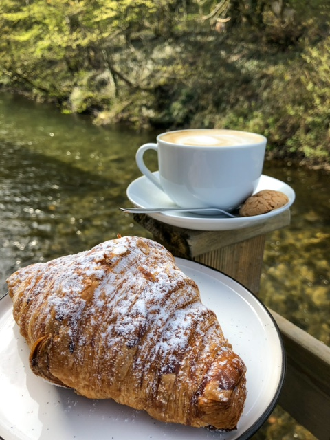 Riverside Kitchen Bakewell coffee croissant river