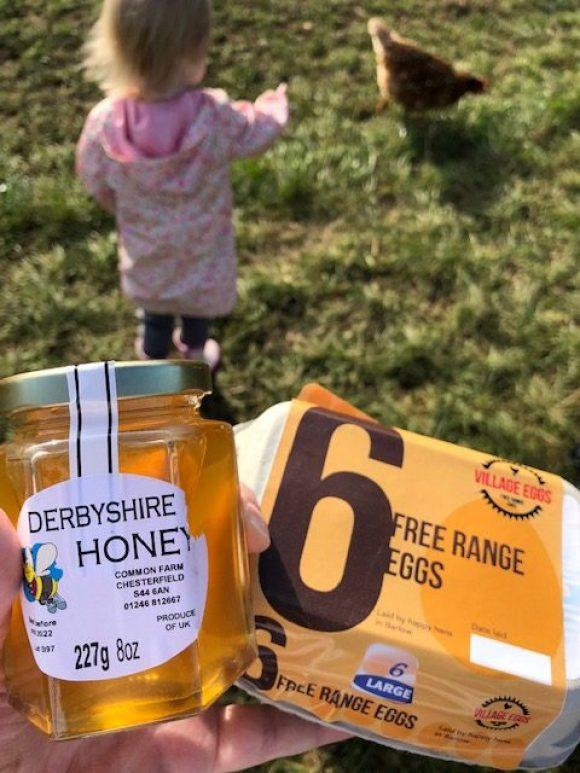 Shop local - locally produced honey and free range eggs. Local farm produce.